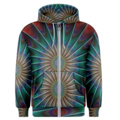 Fractal Peacock Rendering Men s Zipper Hoodie