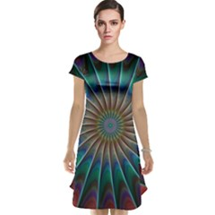 Fractal Peacock Rendering Cap Sleeve Nightdress
