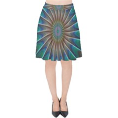 Fractal Peacock Rendering Velvet High Waist Skirt