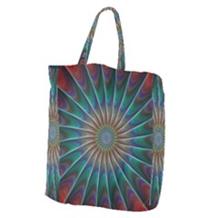 Fractal Peacock Rendering Giant Grocery Zipper Tote by Sapixe