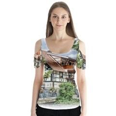 Homes Building Butterfly Sleeve Cutout Tee