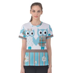 Owl Animal Daisy Flower Stripes Women s Cotton Tee