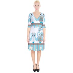 Owl Animal Daisy Flower Stripes Wrap Up Cocktail Dress