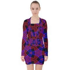 Pattern Abstract Wallpaper Art V Neck Bodycon Long Sleeve Dress