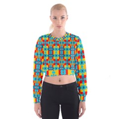 Pop Art Abstract Design Pattern Cropped Sweatshirt