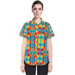 Pop Art Abstract Design Pattern Women s Short Sleeve Shirt