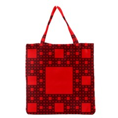 Sierpinski Carpet Plane Fractal Grocery Tote Bag by Sapixe