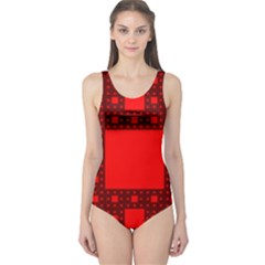 Sierpinski Carpet Plane Fractal One Piece Swimsuit