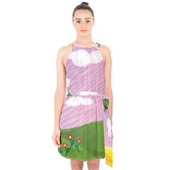 Pine Trees Trees Sunrise Sunset Halter Collar Waist Tie Chiffon Dress