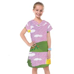 Pine Trees Trees Sunrise Sunset Kids  Drop Waist Dress