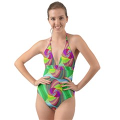 Seamless Pattern Twirl Spiral Halter Cut Out One Piece Swimsuit