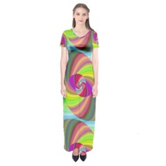 Seamless Pattern Twirl Spiral Short Sleeve Maxi Dress