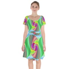 Seamless Pattern Twirl Spiral Short Sleeve Bardot Dress