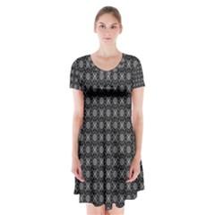 Kaleidoscope Seamless Pattern Short Sleeve V Neck Flare Dress