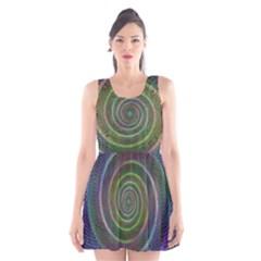 Spiral Fractal Digital Modern Scoop Neck Skater Dress