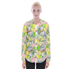 Womens Long Sleeve Shirt Colorful Flower Pattern