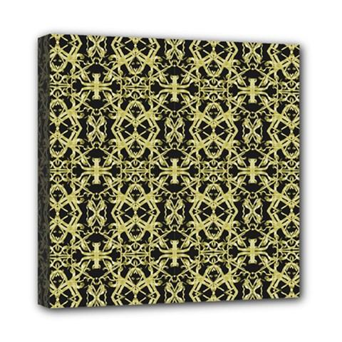 Golden Ornate Intricate Pattern Mini Canvas 8  X 8
