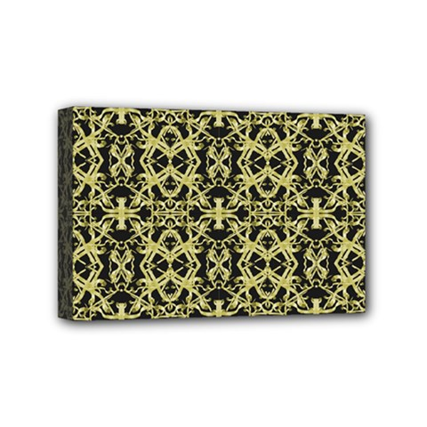 Golden Ornate Intricate Pattern Mini Canvas 6  X 4