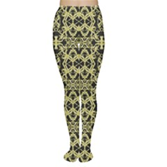 Golden Ornate Intricate Pattern Women s Tights