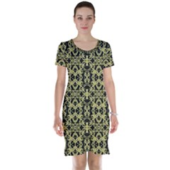 Golden Ornate Intricate Pattern Short Sleeve Nightdress