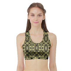 Golden Ornate Intricate Pattern Sports Bra With Border