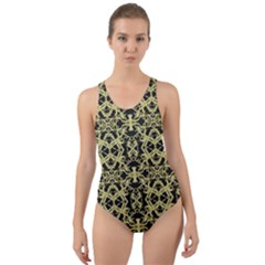 Golden Ornate Intricate Pattern Cut Out Back One Piece Swimsuit