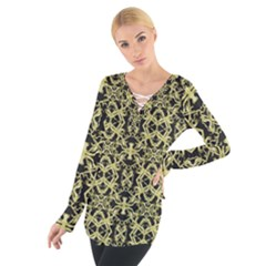 Golden Ornate Intricate Pattern Tie Up Tee