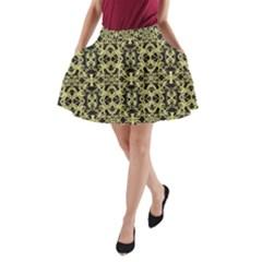 Golden Ornate Intricate Pattern A Line Pocket Skirt