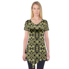 Golden Ornate Intricate Pattern Short Sleeve Tunic