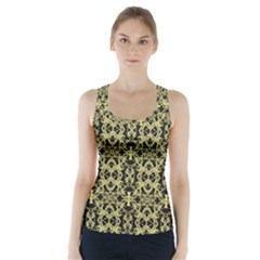 Golden Ornate Intricate Pattern Racer Back Sports Top
