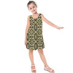 Golden Ornate Intricate Pattern Kids  Sleeveless Dress