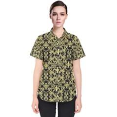 Golden Ornate Intricate Pattern Women s Short Sleeve Shirt