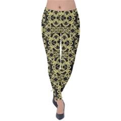 Golden Ornate Intricate Pattern Velvet Leggings