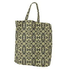 Golden Ornate Intricate Pattern Giant Grocery Zipper Tote