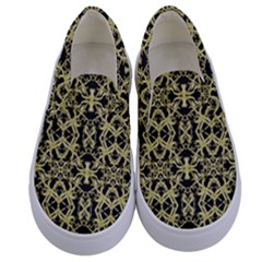 Golden Ornate Intricate Pattern Kids  Canvas Slip Ons