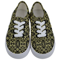 Golden Ornate Intricate Pattern Kids  Classic Low Top Sneakers