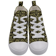 Golden Ornate Intricate Pattern Kid s Mid Top Canvas Sneakers