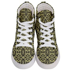 Golden Ornate Intricate Pattern Women s Hi Top Skate Sneakers