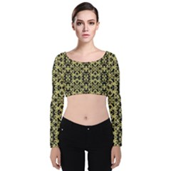 Golden Ornate Intricate Pattern Velvet Crop Top