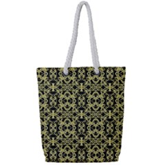 Golden Ornate Intricate Pattern Full Print Rope Handle Tote (small)