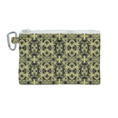 Golden Ornate Intricate Pattern Canvas Cosmetic Bag (medium)