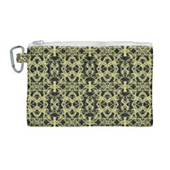 Golden Ornate Intricate Pattern Canvas Cosmetic Bag (large)