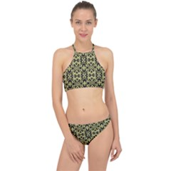 Golden Ornate Intricate Pattern Racer Front Bikini Set