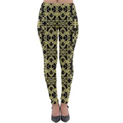 Golden Ornate Intricate Pattern Lightweight Velour Leggings
