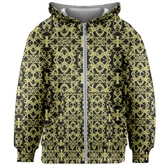 Golden Ornate Intricate Pattern Kids Zipper Hoodie Without Drawstring