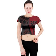 Red And Grey Silhouette Palm Tree Crew Neck Crop Top