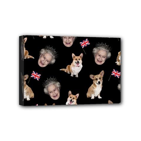 Queen Elizabeth s Corgis Pattern Mini Canvas 6  X 4