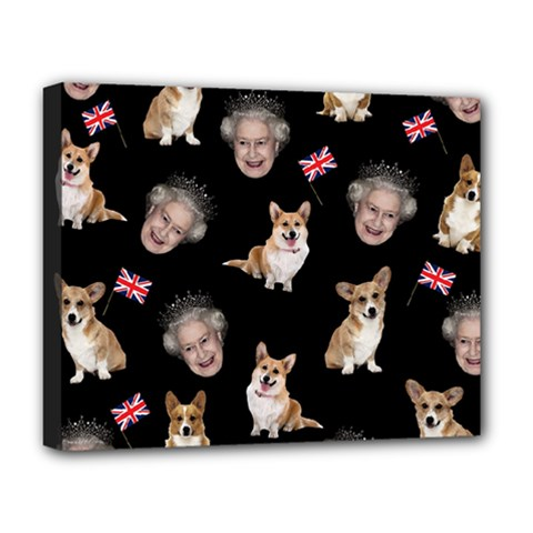 Queen Elizabeth s Corgis Pattern Deluxe Canvas 20  X 16