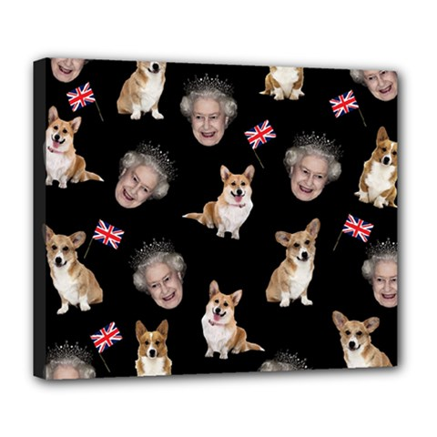 Queen Elizabeth s Corgis Pattern Deluxe Canvas 24  X 20
