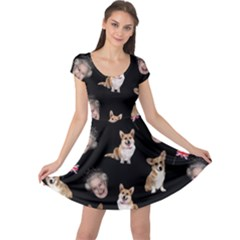 Queen Elizabeth s Corgis Pattern Cap Sleeve Dress
